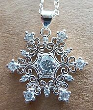 SNOWFLAKE SILVER PLATED NECKLACE JEWELLERY CUBIC ZIRCONIA WINTER DESIGN PENDANT