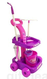 Childrens Kids Cleaning Cleaner Pretend Play Trolley Toy