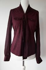 Next Long sleeved stretchy top,14 Tie neck blouse,Burgundy,Black spots,Viscose