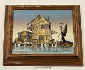 """H. Hargrove Fisherman's Lobby Live Crab & Lobster 8"""" x 10"""" Framed Painting READ"""