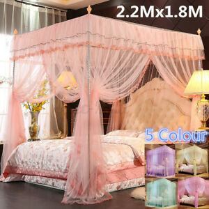 4 Corner Post Bed Canopy Mosquito Net Full Queen King Size Netting Bed Luxury