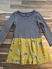Tea Collection size 6 skater dress striped with yellow cheetah skirt