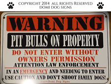 "Metal Warning Pit Bulls Dog Sign For FENCE ,Beware Of Dog 8""x12"""
