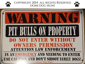"""Metal Warning Pit Bulls Dog Sign For FENCE ,Beware Of Dog 8""""x12"""""""