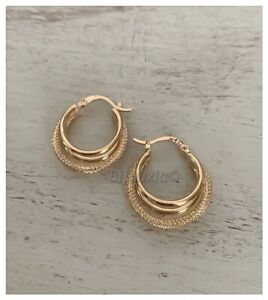 Creole Earrings Triple Rings Sparkly Gold Plated 18 Carat