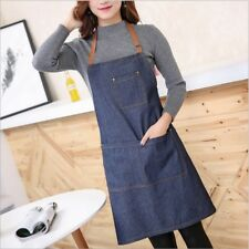 Denim Canvas Pocket Apron Adjustable Baking Chefs Kitchen Coffee Cooking BBQ