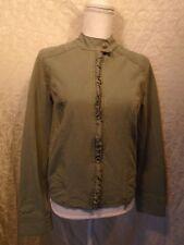 Sanctuary SURPLUS Women's Medium Fitted Racer Military Jacket Ruffle Sage Green