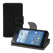 WALLET SUEDE CASE FOR SAMSUNG GALAXY S2 S2 PLUS COVER BLACK STAND MOBILE PHONE