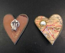 Pacheco Artist Signed Recycled Materials Las Vegas Map Heart  Clip On Earrings