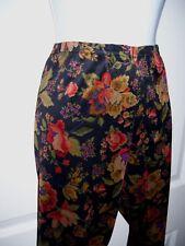 Vintage Leggings Women's Pants Medium Black & Colorful Flower Print