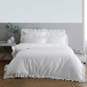 Luxury Soft Plain Frilled Edge Duvet Bedding Set Quilt Cover With Pillow Cases