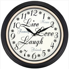 "Westclox 12"" Live Love Laugh Black Wall Clock Battery Quartz Ship from Us Seller"