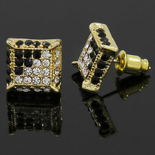 Mens Gold and Black Cz Cube Iced Out Hip Hop Micro Pave Kite Stud Earrings Bling