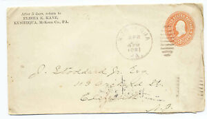 US 1901 Corner Advertising Postal Stationery Cover Kushequa PA to Elizabeth NJ