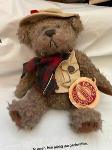 "1997 Brass Buttons Bear Tanner Plush 12"" Stuffed Animal Fishing Plaid Vintage"