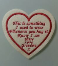 "Heart Memory/memorial patch. ""This is something I used to wear, love Grandma"""
