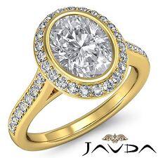 Oval Diamond Bezel Halo Pre-Set Engagement Ring GIA F VS2 18k Yellow Gold 2.3ct