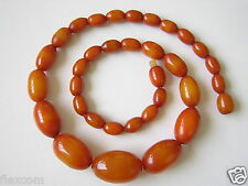 Antike Echte Bakelit Oliven Kette Egg Yolk Real Bakelite Necklace 26,2 g