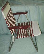 Vtg Child Size Vinyl Tube Folding Lawn Chair Patio Deck Pool Beach Maroon White