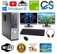 ULTRA FAST Dell Gaming PC Computer Desktop Bundle i7 8GB 1TB GT710 DUAL MONITORS