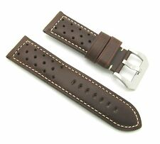 26mm Thick Leather Padded Dark Brown Watch Band with Breathing Holes