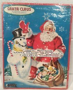 Vintage Whitman Santa Claus Frame Tray Puzzle 4424 1950s Snowman