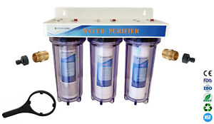 """3 Stage 10"""" HMA Heavy Metal Reduction Water Filter System with Hosepipe Fittings"""