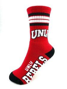 UNLV University of Las Vegas Rebels 4 Stripe Red Deuce Youth Socks
