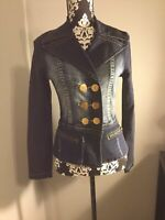 ***REDUCED*** Womens Baby Phat Distressed Denim Jacket Gold Buttons Size Small