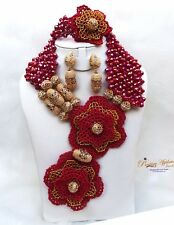 Latest Design Dark Red & Gold Elongated African Nigerian Necklace Jewelry Set