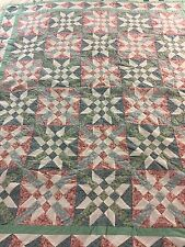 """VINTAGE HANDMADE EIGHT POINT STAR W NINE PATCH CENTERS  QUILT 47"""" X 53"""""""