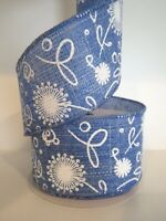 """2.5"""" Wired Ribbon Spring Floral Woven 5yds HAND ROLLED Denim Blue"""