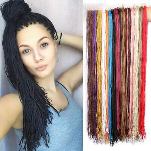 "28"" Thin Long Micro Braids ZiZi Box Braiding Hair Extensions Crochet Dreads Locs"