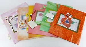 """6 PACK LOT CLEAR WINDOW FLORAL FLOWER GIFT BAGS LARGE SIZE 10"""" X 12"""" X 4"""""""