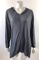 Balance Collection Womens Athletic Top Plus Sz 1X Gray Asphalt Hooded Sharkbite