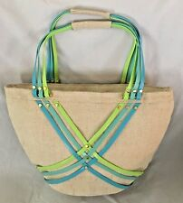 "Crocs Tan Green Blue 5X11X17"" Beach Shoulder Bag Purse w 3 Pockets"