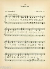 "KAPPA DELTA RHO Fraternity Vintage Song Sheet c1921 ""Memories"" & ""Hail to KDR"""