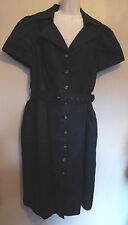 Viyella UK14 EU42 US10 black linen and lined button-through belted unworn dress