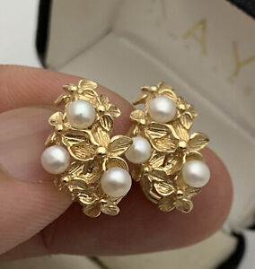 Designer 14K Solid Real Yellow Gold Leaf Genuine Pearl Clip Earrings