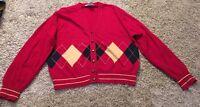 Talbots Women's Red Wool Blend Cardigan Sweater, Size L