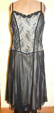 Black Net Lace Dress Size 14 Strappy A Line Fitted Top Gothic Attitude Statement