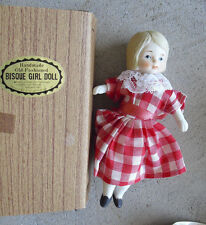 "Vintage 1970s Shackman Bisque Cloth Girl Doll 5 1/4"" Tall NIB"