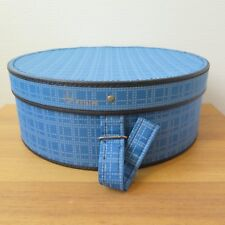 VINTAGE ROUND BLUE CHECKED VANITY CASE PHILIPS | Hat Box Suitcase 1960s