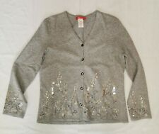 Anne Klein Gray Beaded Embroidered Sweater Tank Top Set Twinset Cardigan Size S
