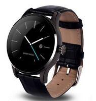 Smartwatch FTKH8 Leder Schwarz Pulsuhr Smartband Fitness Band Tracker Bluetooth