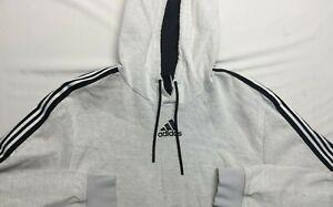 Men's Adidas Hoodie XL Extra Large Long sleeve White black stripes