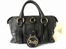 Authentic CELINE Horse Carriage Logo Hand Bag Black Leather