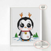 Baby Penguin-Deer - Christmas Embroidery Cross stitch PDF Pattern - 097