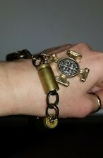 Artisan Bullet Case hand crafted Bracelet 9 inches with Cross Charm boho chic