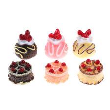 6pcs Dessert 3D Resin Cream Cakes Miniature food Dollhouse Accessories FU